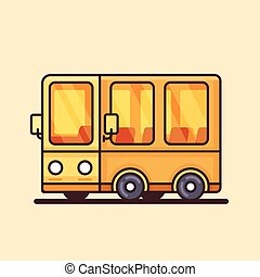Modern yellow bus icon. Flat design.