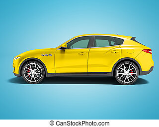 Modern yellow car crossover for business trips side view 3d render on blue background with shadow