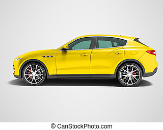 Modern yellow car crossover for business trips side view 3d render on gray background with shadow