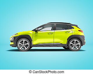 Modern yellow car crossover side view 3d render on blue background with shadow