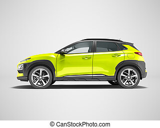 Modern yellow car crossover side view 3d render on gray background with shadow