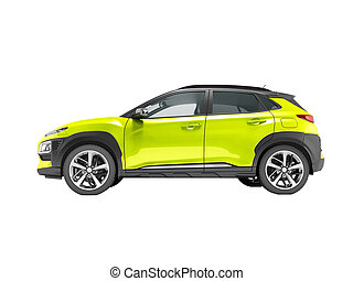Modern yellow car crossover side view 3d render on white background no shadow