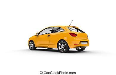 Modern Yellow Car Rear View