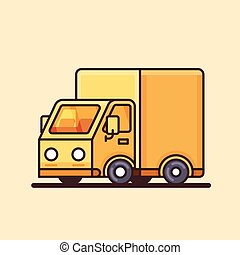Modern yellow delivery truck icon.