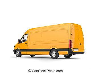 Modern yellow delivery van - side view