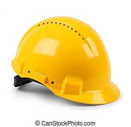 Modern yellow hard hat protective safety helmet isolated