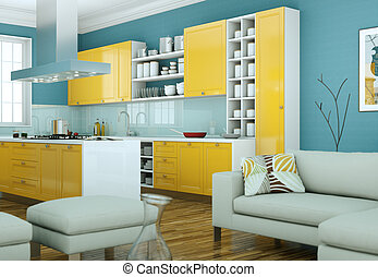 modern yellow kitchen interior design illustration
