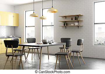 Modern yellow kitchen interior