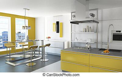 Modern yellow kitchen. - Modern yellow kitchen with isle,...