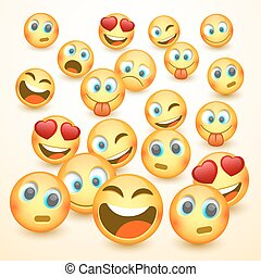 Modern yellow laughing three Emoji, Emotions.