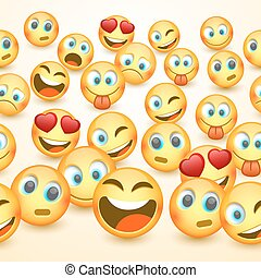 Modern yellow laughing three Emoji, Emotions.