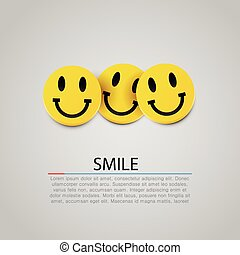 Modern yellow laughing three smiles. Vector