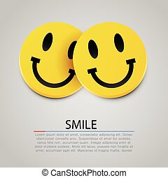 Modern yellow laughing two smiles. Vector