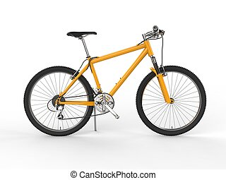 Modern yellow mountain bike - side view