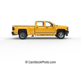 Modern yellow pickup truck - side view
