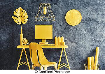 Modern yellow workspace interior
