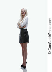 Modern young business woman. Full-length portrait.