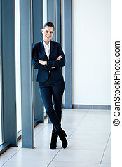 modern young businesswoman full length