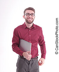 modern young man with a laptop. isolated on white