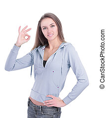 modern young woman showing OK gesture . isolated on white
