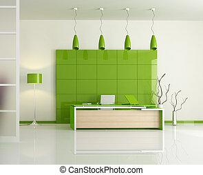 modern, zöld, hivatal