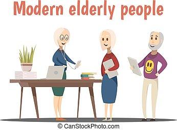 modern, zenemű, öregedő emberek