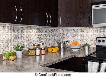 moderne, éclairage, confortable, cuisine