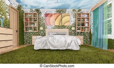moderne, écologique, vert, chambre à coucher, conception intérieur