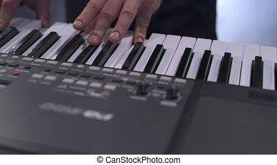 moderne, électrique, piano, pianiste, jouer, vue