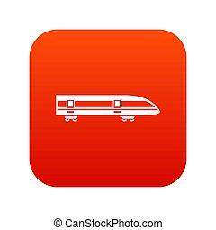 moderne, élevé, train, numérique, vitesse, rouges, icône