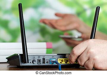 moderne, équipement, connexion sans fil, internet, routeur, wi-fi