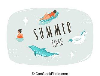 moderne, été, arrière-plan., typographie, amusement, isolé, vecteur, dessin animé, main, dauphin, citation, temps, licorne, natation, dessiné, longboard, anneau, résumé, bleu, illustration, gens, flotteur, surfeur