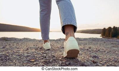 moderne, été, river., coucher soleil, jean, promenades, ...