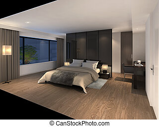 moderne, 3d, illustration, chambre à coucher