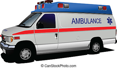 moderne, ambulance, fourgon, sur, white., c