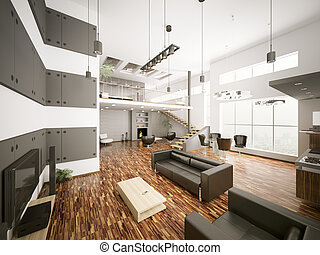 moderne, appartement, intérieur, 3d