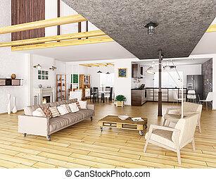 moderne, appartement, intérieur, 3d, rendre