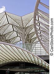 moderne, architecturaal ontwerp, van, een, treinpost