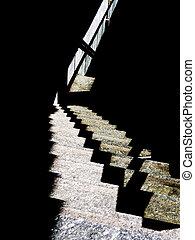 moderne architektur, abstrakt, -, bahnhof, schritte, licht, und, schatten