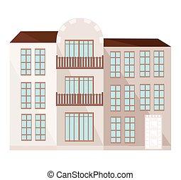 moderne architektur, fassade, gebäude, vektor, abbildung
