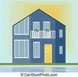 moderne architektur, fassade, von, a, blaues, house., vektor, abbildung, sonnenuntergang, hintergrund