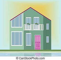 moderne architektur, fassade, von, a, grün, house., vektor, abbildung, sonnenuntergang, hintergrund