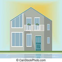 moderne architektur, fassade, von, a, graue , house., vektor, abbildung, sonnenuntergang, hintergrund