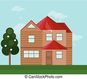 moderne architektur, fassade, von, a, house., sommer, hintergrund, vektor, abbildung