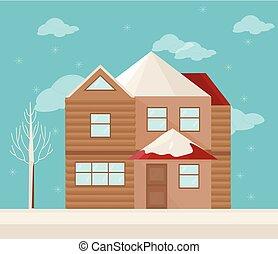 moderne architektur, fassade, von, a, house., winter, hintergrund, vektor, abbildung