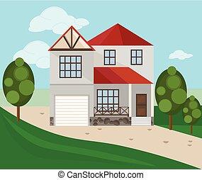 moderne architektur, fassade, von, a, weißes, house., sommer, hintergrund, vektor, abbildung