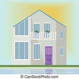 moderne architektur, fassade, von, a, weißes, house., vektor, abbildung, sonnenuntergang, hintergrund