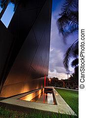 moderne arkitektur, hos, halvmørket
