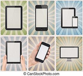 moderne, artikelen & hulpmiddelen, op, retro, achtergrond, set
