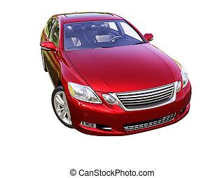 moderne, auto, is, vrijstaand, op, een, witte